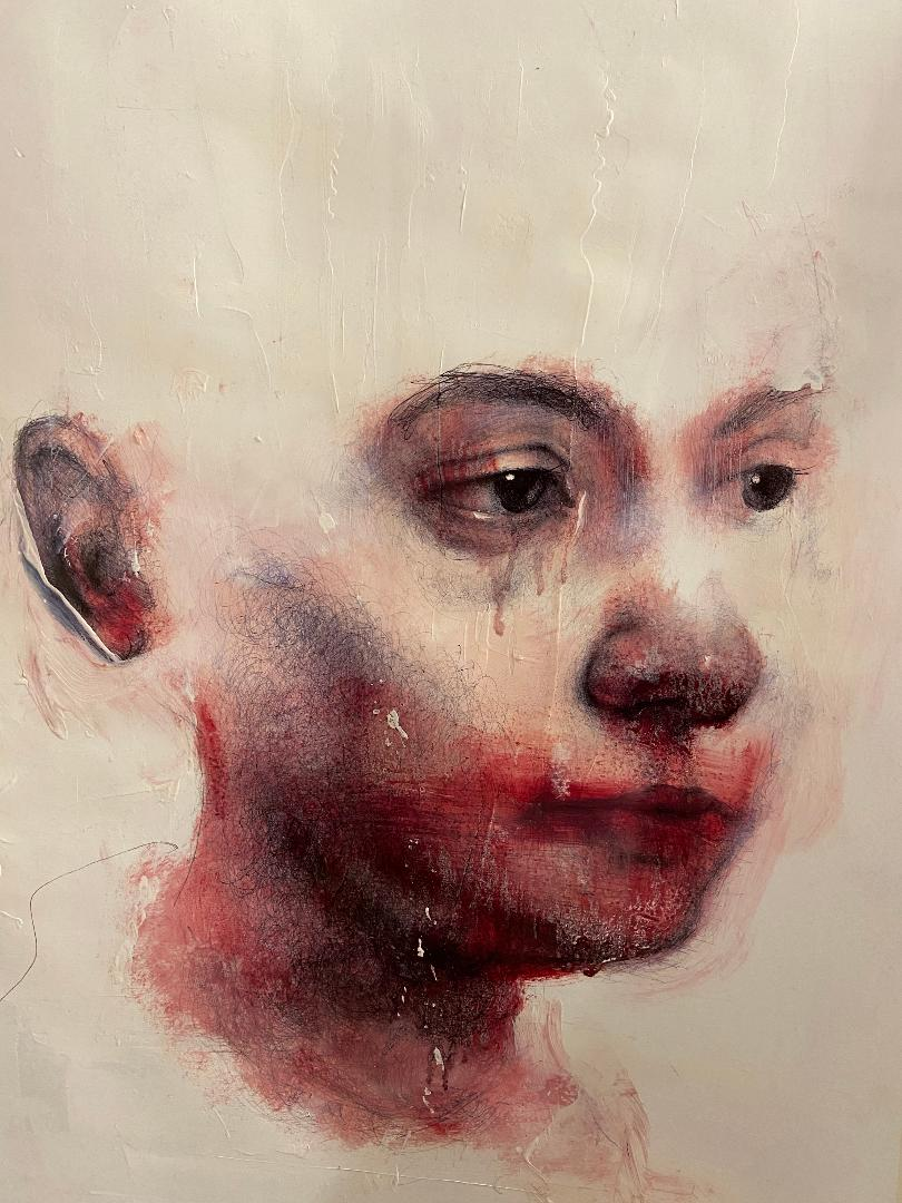 """Angelo"", 70 x 50 cm, Olio e penna bic su carta, 2020"