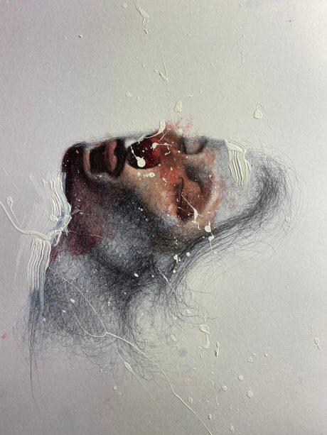 """""""Pioggia di Nuvole"""", 40 x 30 cm, Olio e penna bic su carta"""