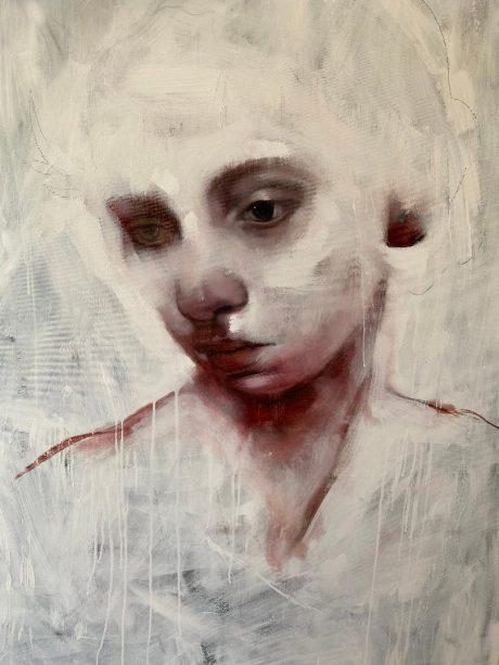 """""""La solitudine di un angelo"""", 150 x 100 cm, Olio su tela"""